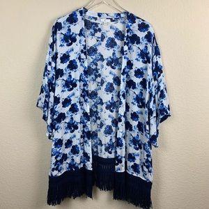 BOHO Floral Blue White Kimono Wrap Fringe Trim XL